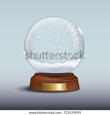Snow globe with shiny snow and golden badge on brown wooden base. Vector Christmas design element.