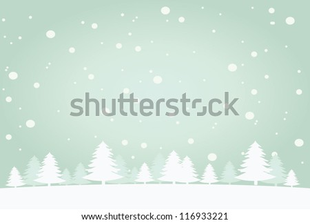 Snow landscape background. Vector illustration for retro christmas card. - stock vector
