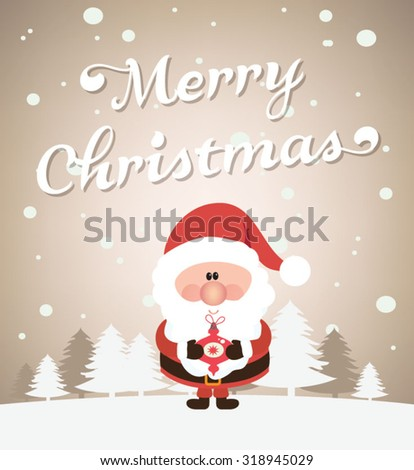 Snow landscape background with Santa Claus. Vector illustration for retro Christmas card. - stock vector