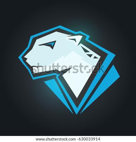 Snow Leopard Head Mockup Template Animal Stock Vector Hd Royalty