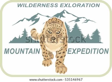 Snow Leopard Irbis Emblem Mountain Climbing Stock Vector 535146967