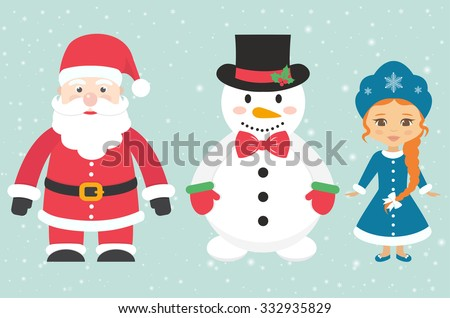 snow maiden and santa claus and snowman - stock vector