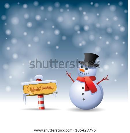snow man - stock vector
