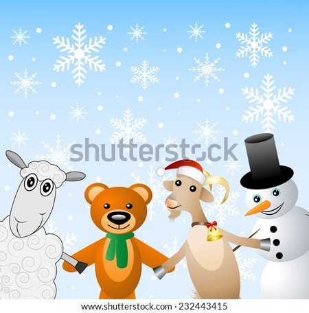 snow man with beasts on a festive background,  vector  illustration - stock vector