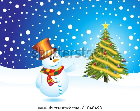 snow man with Christmas tree with ice vector - stock vector