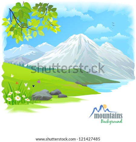 Snow Mountain and Green Hills - stock vector