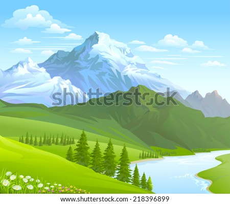 Green mountain range stock images royalty free images vectors snow mountain and river flowing in a valley sciox Gallery