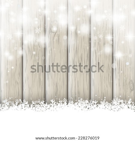 Snow on the wooden background. Eps 10 vector file.