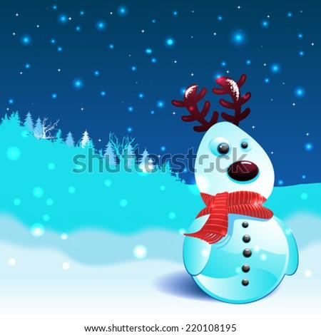 Snow reindeer christmas background - stock vector