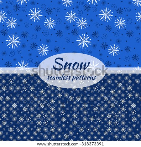 Snow vector seamless patterns.
