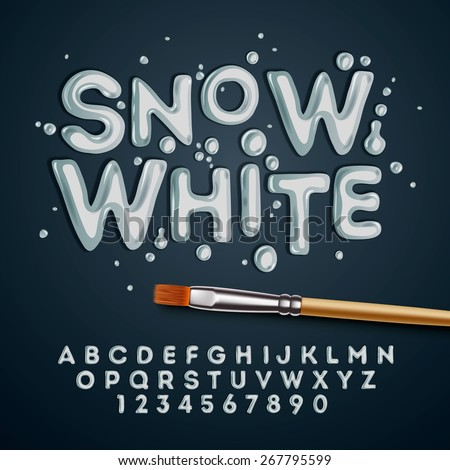 Snow white alphabet and numbers, vector illustration. - stock vector