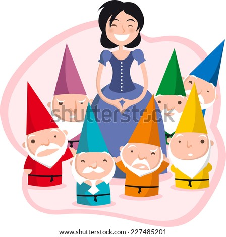 snow white and the seven dwarfs. - stock vector
