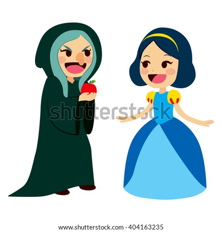 Snow White princess getting an apple from an ugly old evil witch - stock vector