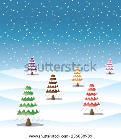 Snow winter background / Snow on winter background with the trees colorful on snow curve. postcard background. - stock vector