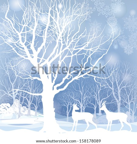 Snow winter landscape with two deers. Abstract vector illustration of winter forest. Snow winter background. - stock vector