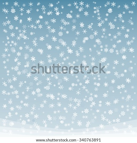 Snow. Winter snowflake. White falling snow isolated on blue for use in design for winter holiday card, invitation, book. Snow in winter sky. Winter snowflake. - stock vector