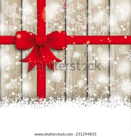 Snow with red ribbon on the wooden background. Eps 10 vector file. - stock vector