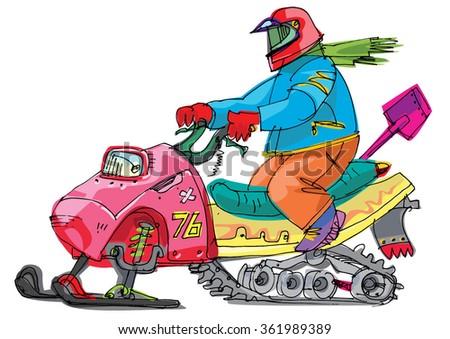 snowbike - cartoon  - stock vector