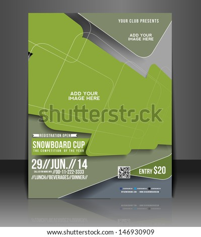 Snowboard Cup flyer,  Flyer Magazine Cover & Poster Template - stock vector