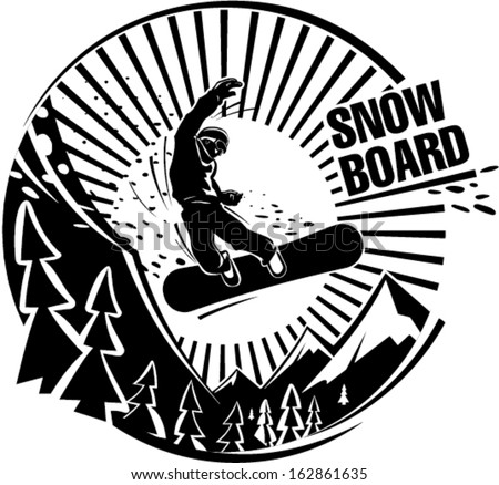 Snowboard jumping in mountains. Vector illustration in the engraving style - stock vector