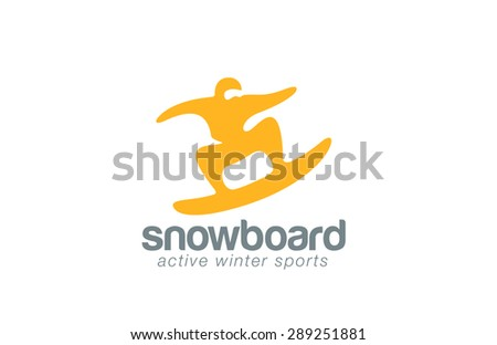 Snowboard logo design vector template. Winter Active sport icon. Skateboarding jumping logotype. Man abstract extreme concept. - stock vector