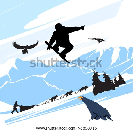 Snowboard man jump on the snow mountains background - stock vector