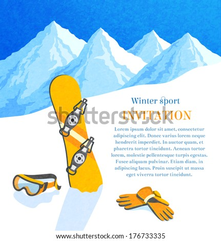 Snowboard winter mountain landscape retro invitation card frame vector illustration - stock vector