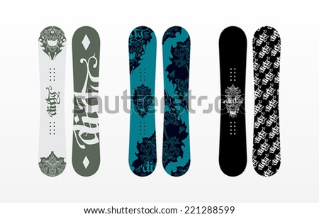 Snowboard with Evil Baroque Typo Print Design - stock vector