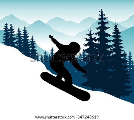 Snowboarder in a helmet with a hillside coming down at speed while standing on the board. Winter sport. Jumping snowboarder during descent. Safety. Vector Image. - stock vector