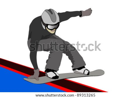 snowboarder slides on rails - stock vector