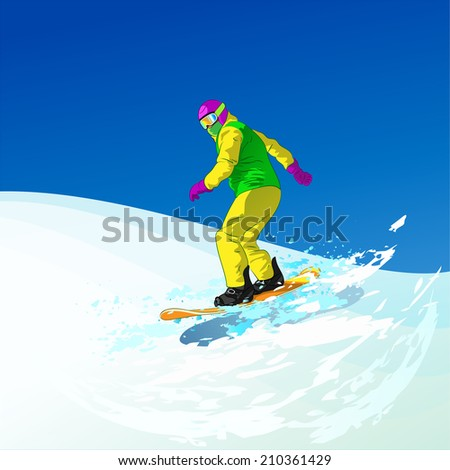Snowboarder sliding down the hill, man snowboarding on snow mountains slopes, Vector Illustration