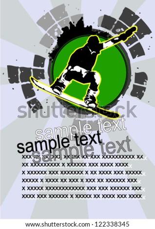 snowboarding grunge  Illustration - stock vector