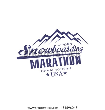 Snowboarding Marathon Championship Emblem Classic Style Vector Logo With Calligraphic Text On White Background - stock vector