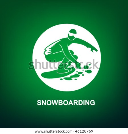 snowboarding sport icon on the green background
