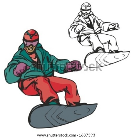 snowboarding vector illustration stock vector 1687393 shutterstock rh shutterstock com snowboarding cartoon clipart snowboarding clipart black and white