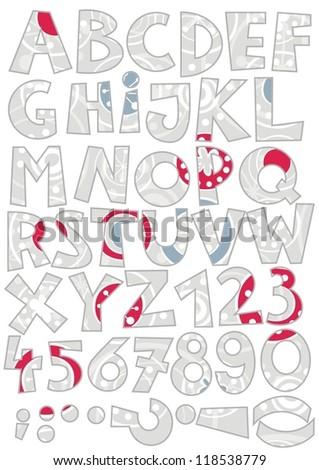 snowfalkes on gray abc  colorful retro  alphabet - stock vector