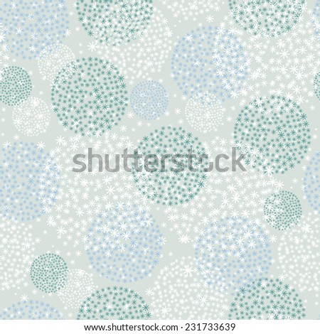 Snowfall seamless pattern. Snowball with snowflakes background. Winter blue background. Christmas background. New Year background. - stock vector