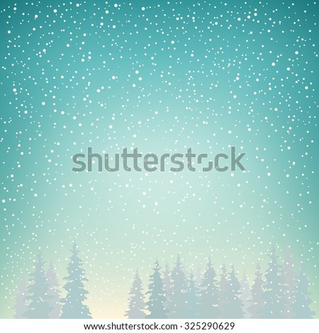 Snowfall, Snow Falls on the Spruce, Snowfall in the Forest, Fir Trees in Winter in Snowfall, Winter Background, Christmas Winter Landscape in Turquoise Shades,  Vector Illustration - stock vector
