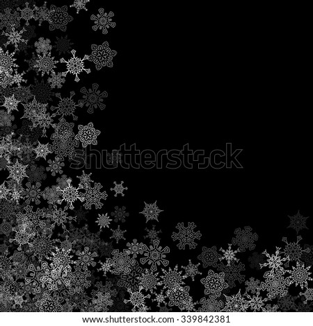 Snowfall with random snowflakes layers in the dark - stock vector