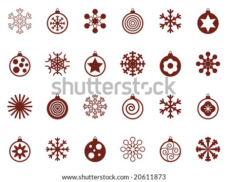 snowflake and bauble christmas icons, easily editable for color change - stock vector