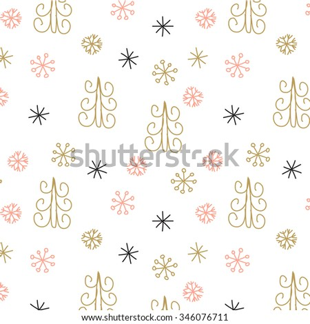 Snowflake and fir christmas tree. Christmas decoration pattern, seamless background, hand drawn elements. Vector illustration in black, pink, and gold pastel colors - stock vector