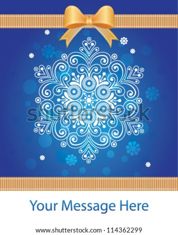 Snowflake and snow. Greeting card, banner design template for Christmas time and New Year.