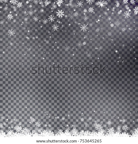 Snowflake border vector. Christmas falling snow background.