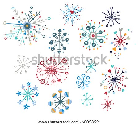 Snowflake design elements with creative, whimsical shapes. - stock vector