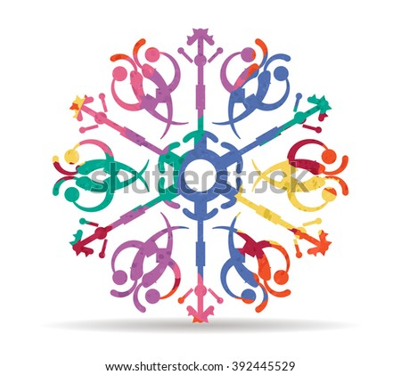 snowflake drawn painted icon vector