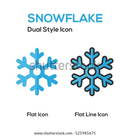 Snowflake Flat Icon And Flat Line Icon.