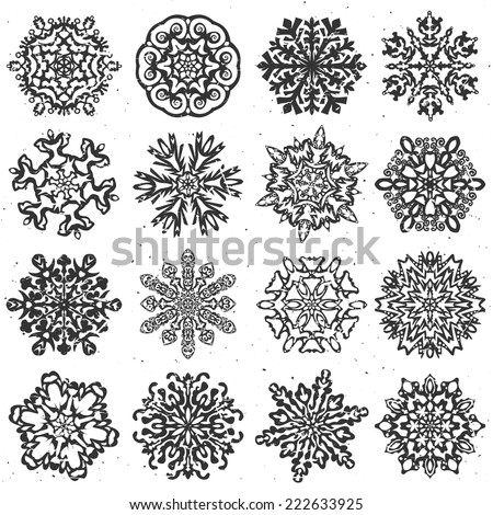Snowflake hand drawn vectors. Set of 16 isolated elements on white background. Template for christmas winter design - stock vector