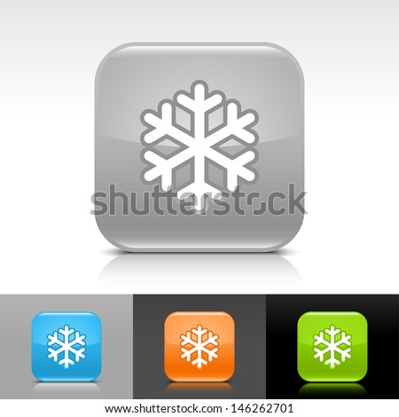 Snowflake icon. Blue, orange, green, gray color glossy web button with white sign. Rounded square shape with shadow, reflection on white, gray, black background. Vector illustration element 8 eps  - stock vector