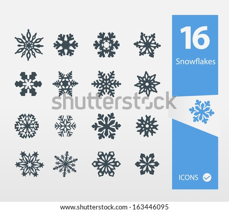 Snowflake icons ( Set of 16 Quality icon ) - stock vector