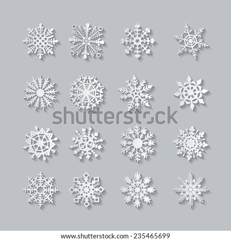 Snowflake icons set, vector illustration on white background  - stock vector